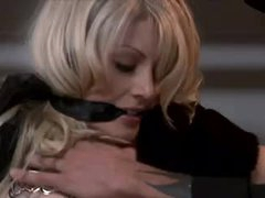 Charming blonde fastened in his closet and fucked