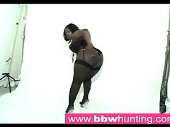Hot ebony BBW teasing a big gazoo paramour