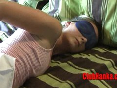 2 guys having enjoyment at tied hot blonde expense