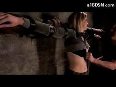 Blond Angel Tied To Cross Stomach And A-hole Spanked Bumpers Rubbed In The Dungeon