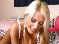 Blonde bombshell toying her pussy on webcam