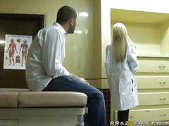 Hawt golden-haired doctor receives patient cock