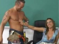 Construction Worker Finds Sexy Teacher Devon Lee At Her Desk And Makes Her Engulf His Weenie In advance of This chab Fucks Her Cunt Right There In The Classroom Older Boobs Cumshot