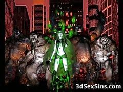 Freak Monsters Group sex 3D Girls!