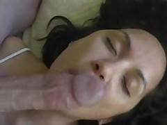 Pliant wife licks cock and balls and acquires cum treat
