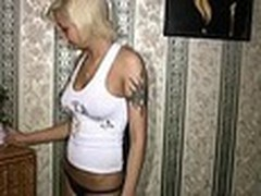 Sassy tattooed golden-haired always inspires her boy-friend to make hawt recent home videos with her starring in them. This time this babe oiled her smooth firm body and sticking tits in front of him then admiring herself in the mirror!