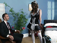 This cute brunette hair is employed as cleaning woman. Her boss is watching her how this chick is working and this guy is very lewd and want to fuck her. The boss put her on the ottoman and begin to take up with the tongue her love tunnel and ass. Then this guy introduce his big cock in her moist slit and begin to fuck her very unfathomable and hard.