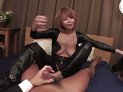 Welcome home honey! Before we go to bed, why don't I show u my fresh leather body suit? And while we're at it, why don't u smack my tight butt aperture and I'll ride your angry dick while u u play with my enormous jugs at the same time? We'll reach heaven before we call it a night, my dear hubby!