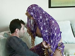 James Deen is cheerful by the big milk sacks of shyla stylez wearing abdomen dancer wardrobe. This babe is looking breathtaking in purple. Her milk sacks are groped hard by deen and licking it with passion. This babe truly wants her pussy being rubbed too.