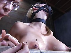 Look at this fucking cheap whore, probably that babe was waiting for some old fashioned ass whipping and throat fucking. Maybe that babe will acquire some of that later but now, the busty sex thrall is going to experience something more intense. With precision and skill they tie her nipples and fingers with wire, want to know why?