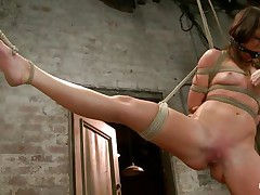 With weights added to her large nipples, sexually excited milf Mia Gold is tied up and has one leg in the air for a better love tunnel domination. Having her face hole gagged, this playgirl can only moan. Her mistress sticks a large marital-device in that wet love tunnel of hers and a fake penis on her clit to drive her crazy. Will this playgirl cum soon?