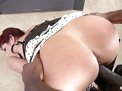 White redhead milf gets her large ass licked and drilled hard by a dark stud with a huge dick. First off she sucks him truly priceless to make him willing for action. That babe truly can't live out of it to take it from behind. This dark stud appears to be to truly love some white milf ass cause he cant truly stop pounding it.