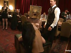 Odile, Lyla Storm, and Katharine Cane are all for the enjoyment of the guests at this party. Katharine has a box on her head and is asking to cum. Lyla gets fingered in both holes and vibed on her clit. It's an elegant fuckfest for those brunette babes, pained or pleasured at the whims of the guests.