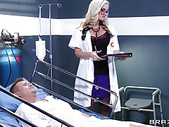Dr. Alena Croft comes in to check on her patient Bill Bailey. He's not feeling well so this babe waves her arse in his face to watch if that helps. He needs more medicine in the form of a good fucking. She climbs on his couch and wraps her love tunnel lips around his aching cock.