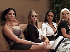 Watch those four hot honeys seducing their boss for a salary raise. Watch how they're undressing and begin touching, giving a kiss and licking every others bobs. Seems that the boss is joining the party so they begin sucking his hard cock. Somebody is getting a salary raise!