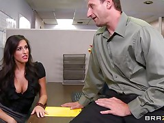 Look at that hawt brunette hair hair telling her boss to come in the storage room so this babe can chastise him for trying to fuck them. 2 of her friends come along and they get horny on that chaps cock. Are they going to get some spunk on their hawt lips or some hard cock in their tight pussies?