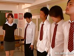 Arisu wants discipline and that babe aligns her students in order and then kneels to engulf every and every one. The chaps broke the line and surrounded her so now that babe has all those hard dongs around her pretty face. Can that babe handle all those weenies and will they repay their teacher with a few loads of cum on her face?