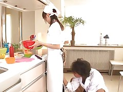 18 yo Japanese sweetheart Asuka does her job in the kitchen when this man starts playing with her cunt. That babe tries to ignore him and proceeds cooking but that fake penis that fellow uses makes things very difficult for the gorgeous oriental girl. What do u think, is this babe good at fucking as this babe is at cooking?