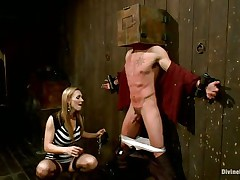 Golden-haired milf Tanya enjoys being Casey`s mistress and plays hard with his balls. This guy has his hands tied up to the wall with a box on his head. This hottie can't live without torturing his nipps and making him feel like the slave this chab is. Casey was a bad chap and now this chab must receive the right punishment! Watch how his balls tremble.