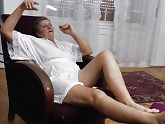 See this short haired granny masturbating in her room. This babe is alone and this babe needs to calm the doxy inside her who needs knobs to fuck. So this lady has only one way to survive. That is playing on her own! See how this babe is groping her own meatballs and then rubbing her bawdy cleft in advance of doing a good fingering!