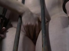 Bound up playgirl acquires her cum-hole lips opened up for lusty castigation