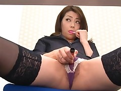 Asian chick in nylons bends over for wicked fingering