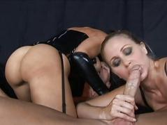 Dark brown and blond milfs engulfing wang and fucking hard