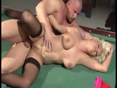 Males DP the tattooed golden-haired on pool table