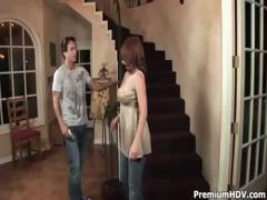 Sexy redhead mommy sucks and fucks young cock on the stairs