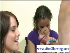 Slutty cfnm girls playing with weenie at the hair studio