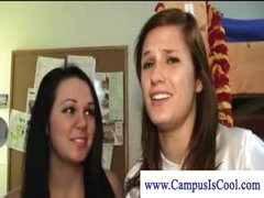 Lesbian college cuties in naked dorm fun